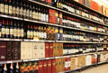 Wine in supermarket china shelf Stock Photos
