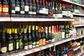 Wine in supermarket china shelf Royalty Free Stock Image