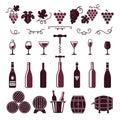 Wine symbols. Grape leaves vine tendrils bottles barrels corkscrew vector stylized pictures for labels or logo design
