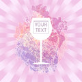Wine tasting card with your text, with white glass over a pink splash painted background Royalty Free Stock Photo