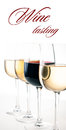 Wine tasting a few glasses of red and white wine close up on background ready template Stock Photos