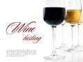 Wine tasting a few glasses of red and white wine close up on background ready template Stock Images