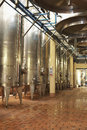 Wine vats inside the winery stainless steel in a row Royalty Free Stock Photo