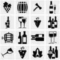 Wine vector icons set on gray isolated grey background eps file available Royalty Free Stock Photo
