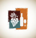 Wine vintage over gray background vector illustration Stock Images