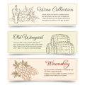 Wine and wine making banners set drink food product alcohol grape tasting hand drawn vector Stock Images