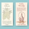 Wine and wine making vertical banners bottle label fruit vintage vector illustration Stock Image