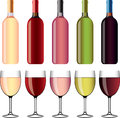 Wine wineglasses photo realistic detailed set Stock Image
