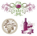 Wine & winemaking emblems & labels Stock Images