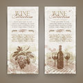 Wine and winemaking grunge vintage banners with hand drawn elements Royalty Free Stock Photo