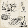 Wine winemaking and vineyard hand drawn illustration in Stock Images