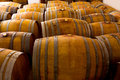 Wine wooden oak barrels in winery wood mediterranean Stock Photography