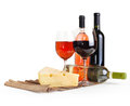 Wineglass, bottle of wine, cheese Royalty Free Stock Photo