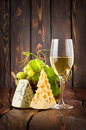 Wineglass and cheese Stock Photo
