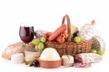 Wineglass dairy product and meat on white Stock Photo