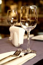 Wineglass on served table Stock Photo
