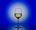 Wineglass with white wine on blurred  background Royalty Free Stock Photo