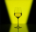 Wineglass with white wine on multicolored background Royalty Free Stock Photo