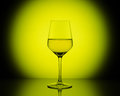 Wineglass with white wine on  yellow  round background Royalty Free Stock Photo