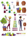 Winemaking Icon Set. Vintage Elite Strong Wine Royalty Free Stock Photo
