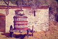 Winery antique screw press for pressing grapes instagram effect Stock Image