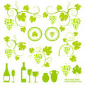 Winery design object silhouettes. Stock Image