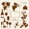 Winery design object silhouettes. Royalty Free Stock Images