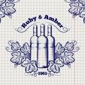Winery emblem sketch design