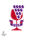 Winery idea eps8 vector illustration. Elegant glass of wine Royalty Free Stock Photo