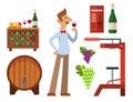 Winery making harvest cellar vineyard glass beverage industry alcohol production vector illustration