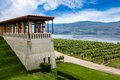 Winery vineyard in kelowna british columbia terrace overlooking a modern and lake okanagan canada Royalty Free Stock Photo