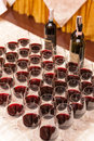 stock image of  Wines and filled wineglasses