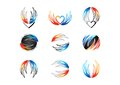 Wing, flame, heart, logo, fire, love, set of concept energy symbol icon vector design Royalty Free Stock Photo