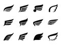 Wing icon vector black on white background Royalty Free Stock Images