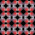 Wing patterns in red semitransparent colors. Seamless abstract background. Repeating wings in mirror position. Royalty Free Stock Photo