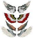 Hand drawn wing vector set.colorful Sticker wing tattoo.Doodle and sketch style tattoo. Royalty Free Stock Photo