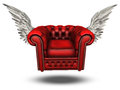 Winged comfort chair classic red Stock Photography