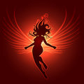 Winged girl in fantasy style sulhoutte of flyiing woman with glowing wings against dark red background illustration Royalty Free Stock Images