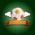 Winged gold football with banner Royalty Free Stock Images