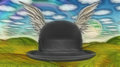Winged Hat in landscape