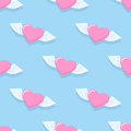 Winged heart seamless pattern. Background for Valentines day. H