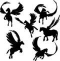 Winged Horse Silhouettes Royalty Free Stock Images
