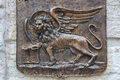 Winged lion sculpture symbol of venice Stock Photo