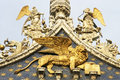 The winged lion of st mark close up Royalty Free Stock Images