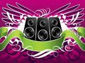 Winged music speakers Royalty Free Stock Photography