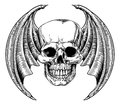 Winged Skull Etching Style