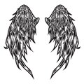 Wings Bird feather Black & White Tattoo Vector Illustration 99 Royalty Free Stock Photo