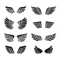 Wings black icons vector set (silhouettes). Minimalistic design. Royalty Free Stock Photo