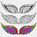 Wings icons set bird illustration eps 10