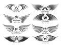 Wings logotype set. Bird wing or winged logo design on white background